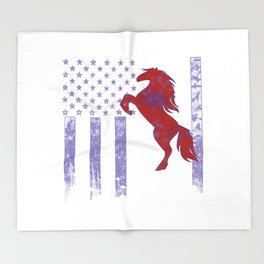 Horseriding Flag Throw Blanket