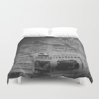 detroit Duvet Covers featuring Detroit Newspapers  by Michelle & Chris Gerard