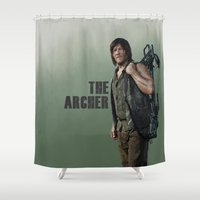 archer Shower Curtains featuring The Archer by Valerie Canizales