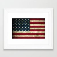 american flag Framed Art Prints featuring American Flag by Abbie :)