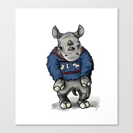 Rhinoceros in Christmas sweater  Canvas Print