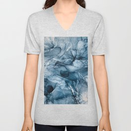 Churning Blue Ocean Waves Abstract Painting Unisex V-Neck
