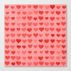 Pink Valentines Love Hearts Canvas Print