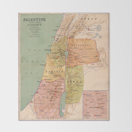 Map of Palestine in the Time of Christ (to 70 A.D.) Throw Blanket
