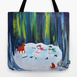 Christmas Night with dancing snowmen Tote Bag