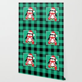 Christmas Penguin Buffalo Plaid Wallpaper