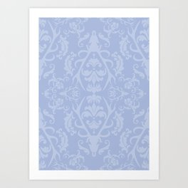 Stag Damask in Frost Art Print