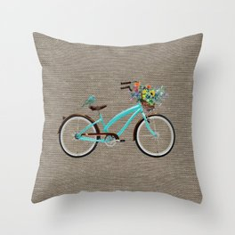 blue bike on burlap melange basket of flowers and a bird2021 Throw Pillow