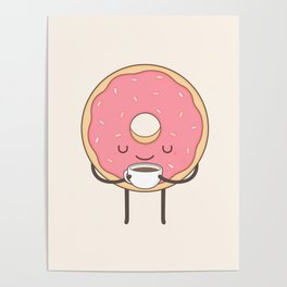 donut loves coffee Poster
