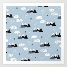 Cool winter wonderland snow Fuji Mountain geometric illustration pattern Art Print