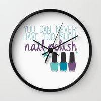 nail polish Wall Clocks featuring Too much nail polish by forgottenLexi