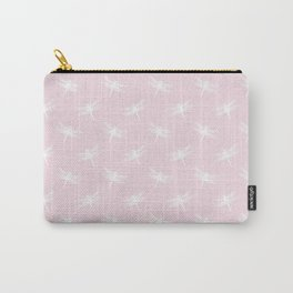 Light Pink & White Dragonfly Pattern Carry-All Pouch