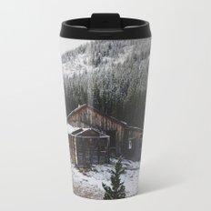 Snowy Cabin Metal Travel Mug