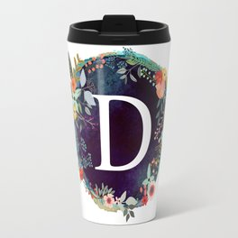 Personalized Monogram Initial Letter D Floral Wreath Artwork Travel Mug