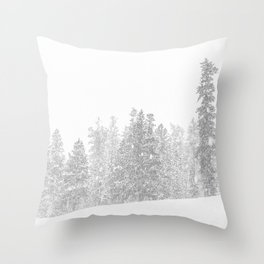 Snowy Slope // Mountain Ski Landscape Photography Black and White Snowboarding Winter Decor Throw Pillow