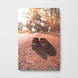 Shoeless & On the Go Metal Print