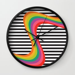 Rainbow Waves Wall Clock