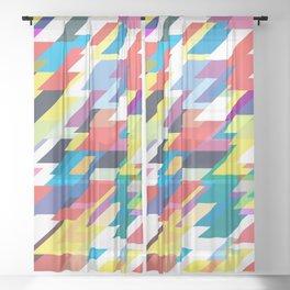 Layers Triangle Geometric Pattern Sheer Curtain