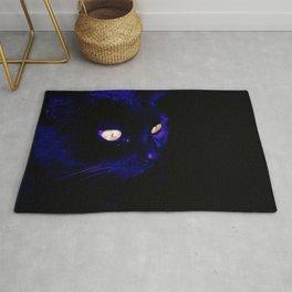 Black Cat Photograph, Halloween Eyes Rug