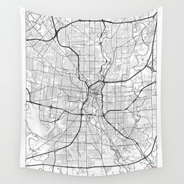 San Antonio Map White Wall Tapestry