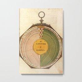 Peter Apian - Astronomicum Caesareum 1540 - Plate 8 Latitude of Mars on the Ecliptic Metal Print