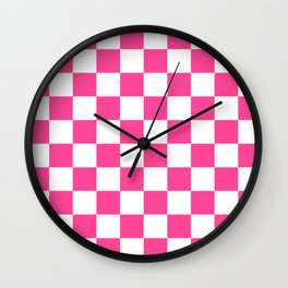 Cheerful Pink Checkerboard Wall Clock