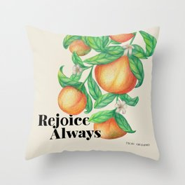 Happy clementines | Botanical illustration Throw Pillow