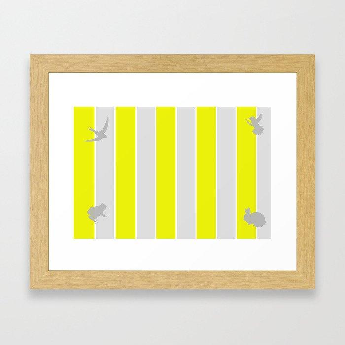 Mustard and Grey Stripes Framed Art Print