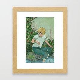 boy and snake  Framed Art Print
