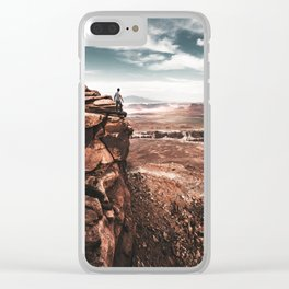 man on top of canyonlands Clear iPhone Case