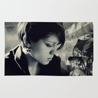 tegan and sara Area & Throw Rugs featuring Tegan Quin by Virginie Le Guen-Bertheaume
