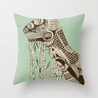 dino Throw Pillows featuring dino by lille-lle