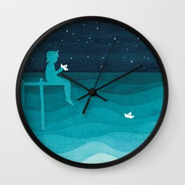 Boy with paper boats, watercolor teal art Wall Clock