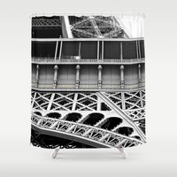 eiffel tower Shower Curtains featuring Eiffel Tower by James Tamim