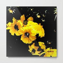 Bees and daisies Metal Print