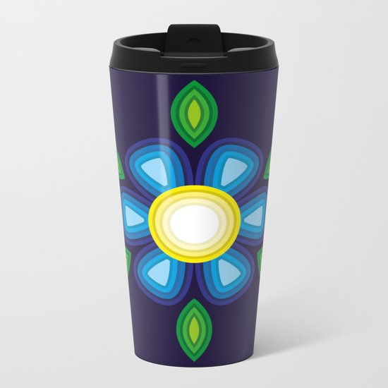 Blue Flower Metal Travel Mug