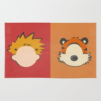 hobbes Area & Throw Rugs featuring A boy and his tiger by Raquel Segal