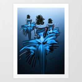 Fashion models in the blue flame dresses on the catwalk Art Print