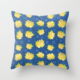 Yellow Rose and Polka Dots Throw Pillow