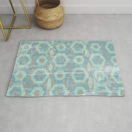 Blue and Green Textured Hexagon Pattern Design Rug