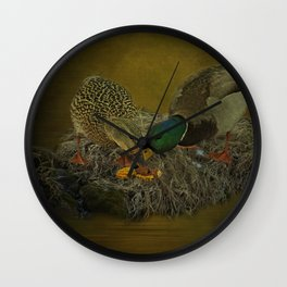 Mallards Having A Meal Wall Clock
