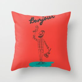 "The Ink - ""Bonjour"" Throw Pillow"