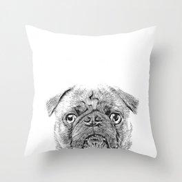 Pug Dog Sketch Throw Pillow