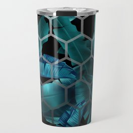 tropical banana leaves geometry 2 Travel Mug