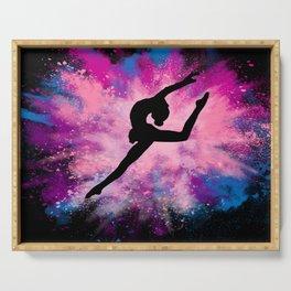 gymnast dancer colour splash Serving Tray
