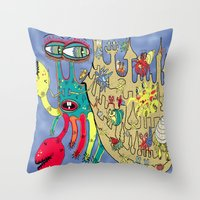 downton abbey Throw Pillows featuring Downton Crabbey by Amy Gale