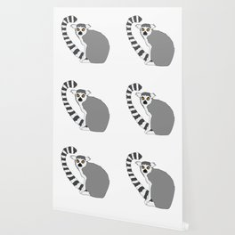 Ring-tailed cute lemur design Wallpaper