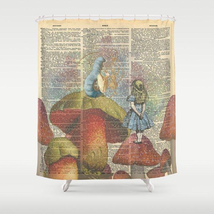 Alice In Wonderland The Hookah Smoking Caterpillar Shower Curtain