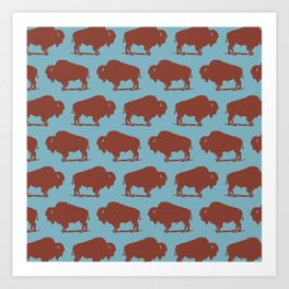 Buffalo Bison Pattern Brown and Blue Art Print