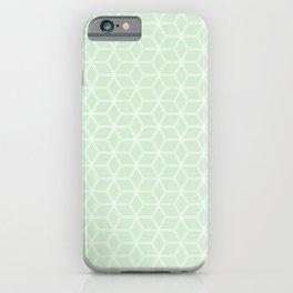 Geometric Hive Mind Pattern - Light Green #395 iPhone Case